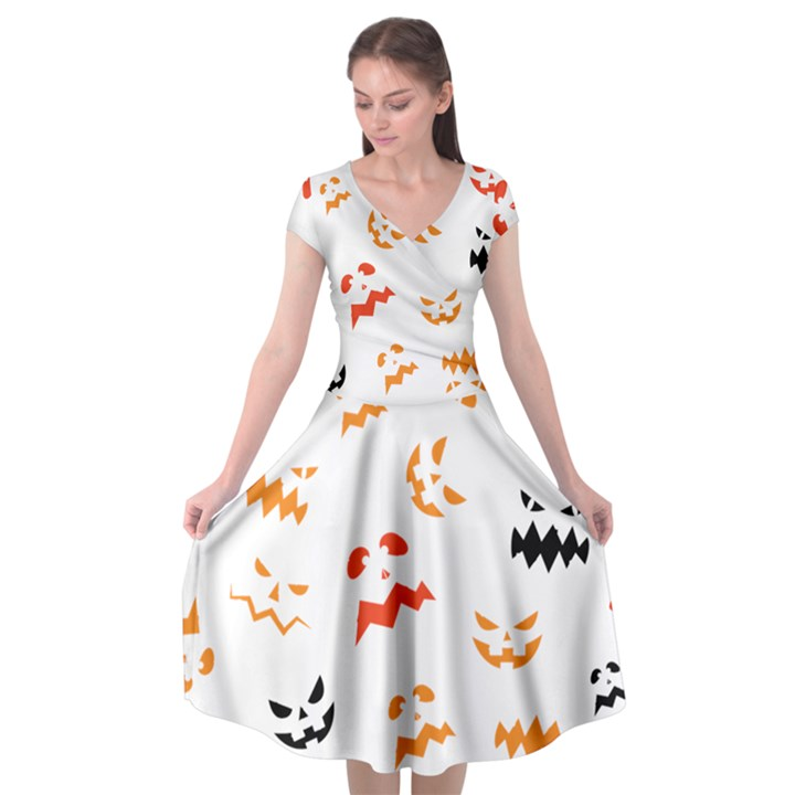 Pumpkin Faces Pattern Cap Sleeve Wrap Front Dress