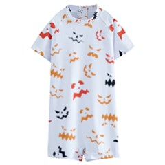 Pumpkin Faces Pattern Kids  Boyleg Half Suit Swimwear