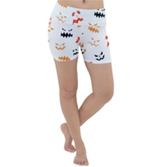 Pumpkin Faces Pattern Lightweight Velour Yoga Shorts