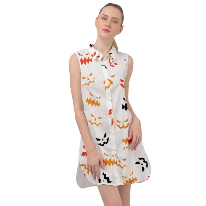 Pumpkin Faces Pattern Sleeveless Shirt Dress