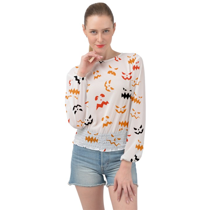 Pumpkin Faces Pattern Banded Bottom Chiffon Top
