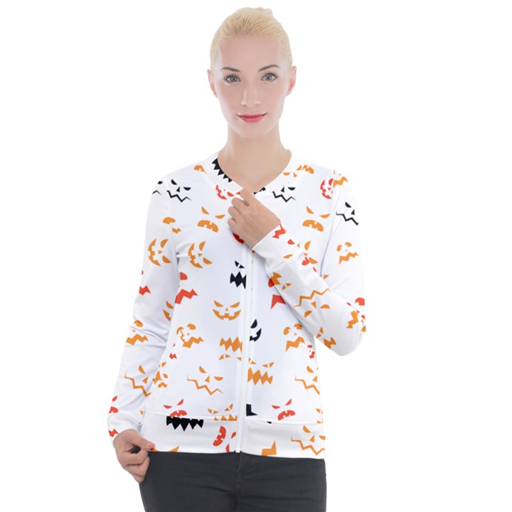 Pumpkin Faces Pattern Casual Zip Up Jacket