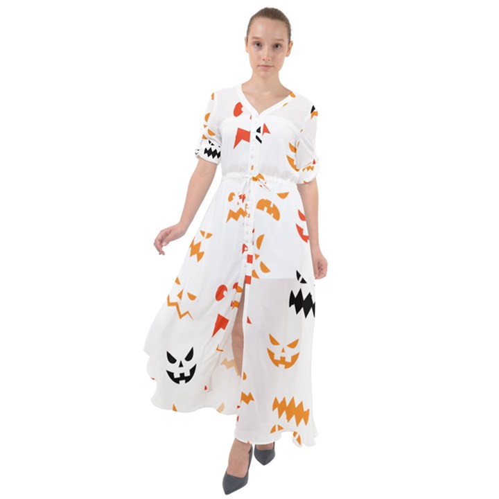 Pumpkin Faces Pattern Waist Tie Boho Maxi Dress