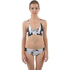 Wonderful Moon With Black Wolf Wrap Around Bikini Set