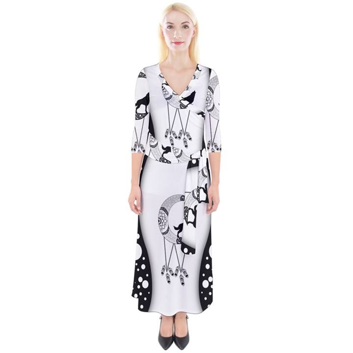 Wonderful Moon With Black Wolf Quarter Sleeve Wrap Maxi Dress