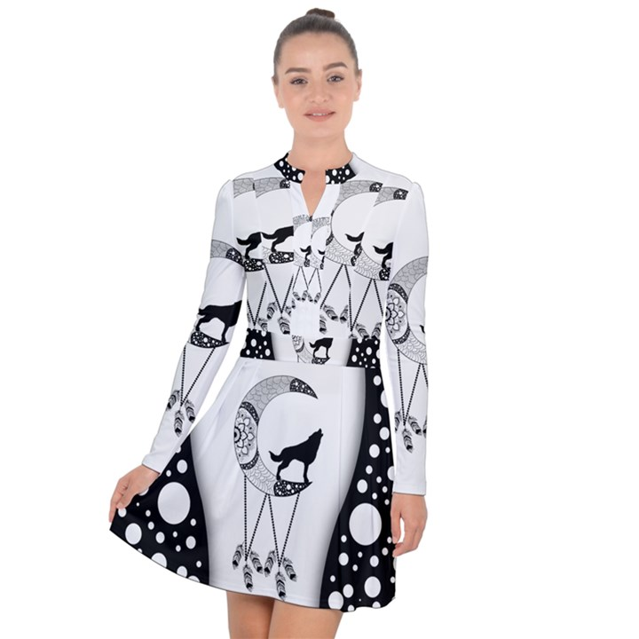 Wonderful Moon With Black Wolf Long Sleeve Panel Dress