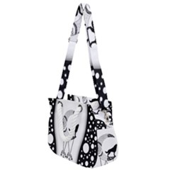 Wonderful Moon With Black Wolf Rope Handles Shoulder Strap Bag