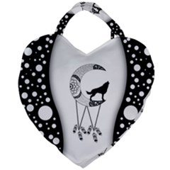 Wonderful Moon With Black Wolf Giant Heart Shaped Tote by FantasyWorld7