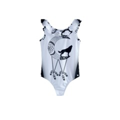 Wonderful Moon With Black Wolf Kids  Frill Swimsuit