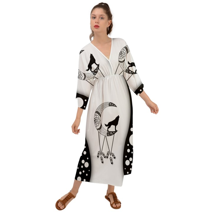 Wonderful Moon With Black Wolf Grecian Style  Maxi Dress