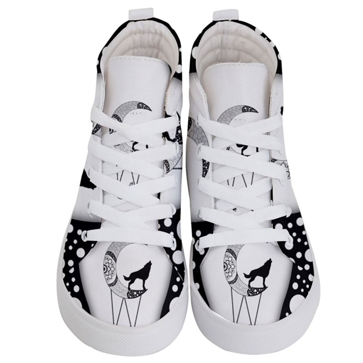 Wonderful Moon With Black Wolf Kids  Hi-Top Skate Sneakers