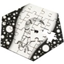 Wonderful Moon With Black Wolf Wooden Puzzle Hexagon View2