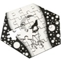 Wonderful Moon With Black Wolf Wooden Puzzle Hexagon View3