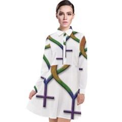 Mrs  And Mrs  Long Sleeve Chiffon Shirt Dress by LiveLoudGraphics