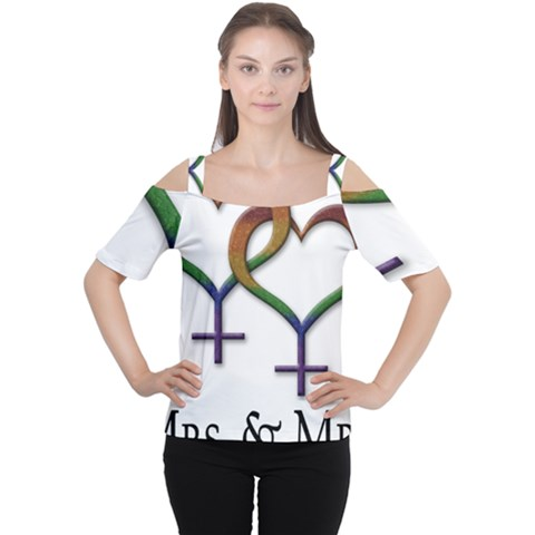 Mrs  And Mrs  Cutout Shoulder Tee by LiveLoudGraphics