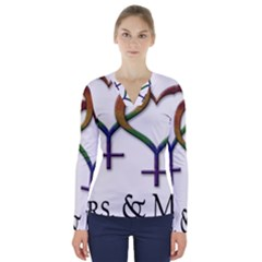 Mrs  And Mrs  V-neck Long Sleeve Top by LiveLoudGraphics