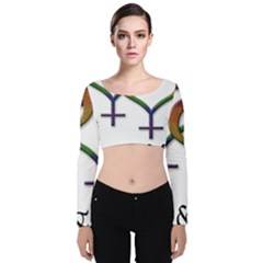 Mrs  And Mrs  Velvet Long Sleeve Crop Top