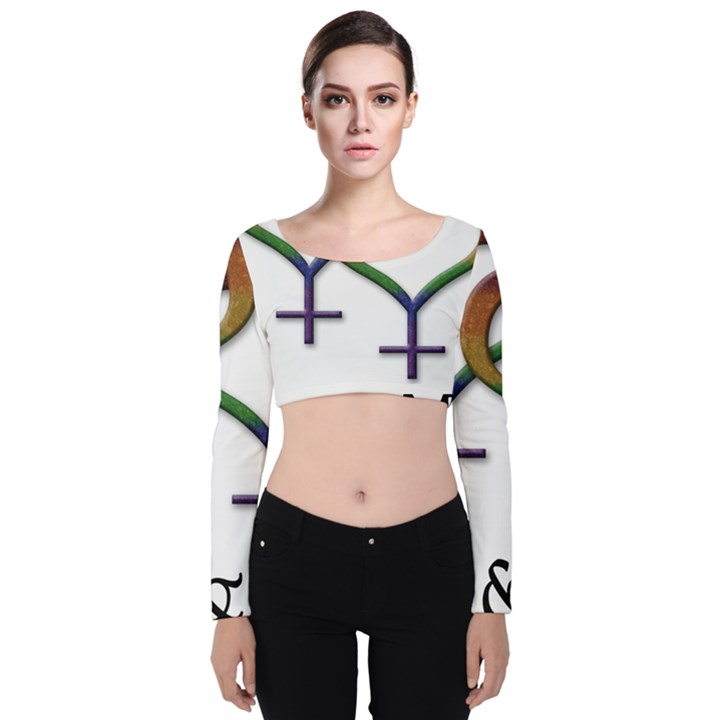 Mrs. and Mrs. Velvet Long Sleeve Crop Top