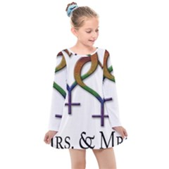 Mrs  And Mrs  Kids  Long Sleeve Dress by LiveLoudGraphics