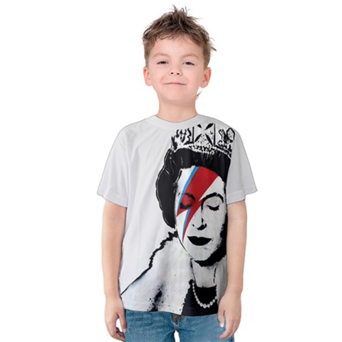 Banksy Graffiti Uk England God Save The Queen Elisabeth With David Bowie Rockband Face Makeup Ziggy Stardust Kids  Cotton Tee by snek