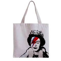 Banksy Graffiti Uk England God Save The Queen Elisabeth With David Bowie Rockband Face Makeup Ziggy Stardust Grocery Tote Bag by snek