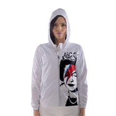 Banksy Graffiti Uk England God Save The Queen Elisabeth With David Bowie Rockband Face Makeup Ziggy Stardust Women s Hooded Windbreaker