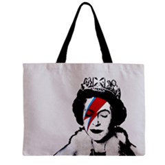 Banksy Graffiti Uk England God Save The Queen Elisabeth With David Bowie Rockband Face Makeup Ziggy Stardust Zipper Mini Tote Bag by snek