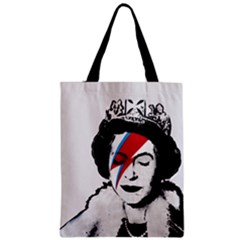 Banksy Graffiti Uk England God Save The Queen Elisabeth With David Bowie Rockband Face Makeup Ziggy Stardust Zipper Classic Tote Bag by snek