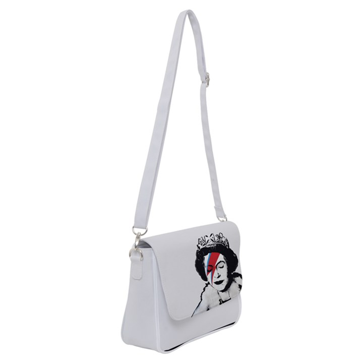 Banksy graffiti UK England God Save the Queen Elisabeth with David Bowie rockband face makeup Ziggy Stardust Shoulder Bag with Back Zipper