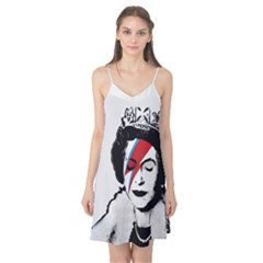 Banksy Graffiti Uk England God Save The Queen Elisabeth With David Bowie Rockband Face Makeup Ziggy Stardust Camis Nightgown by snek