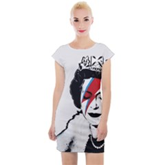 Banksy Graffiti Uk England God Save The Queen Elisabeth With David Bowie Rockband Face Makeup Ziggy Stardust Cap Sleeve Bodycon Dress by snek