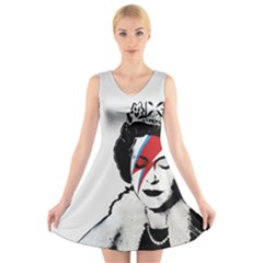 Banksy Graffiti Uk England God Save The Queen Elisabeth With David Bowie Rockband Face Makeup Ziggy Stardust V-neck Sleeveless Dress by snek