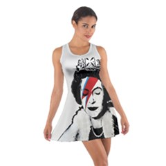 Banksy Graffiti Uk England God Save The Queen Elisabeth With David Bowie Rockband Face Makeup Ziggy Stardust Cotton Racerback Dress by snek