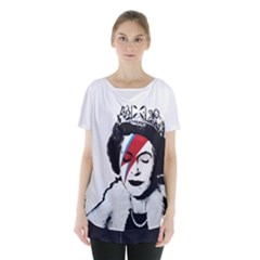 Banksy Graffiti Uk England God Save The Queen Elisabeth With David Bowie Rockband Face Makeup Ziggy Stardust Skirt Hem Sports Top
