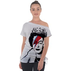 Banksy Graffiti Uk England God Save The Queen Elisabeth With David Bowie Rockband Face Makeup Ziggy Stardust Tie-up Tee