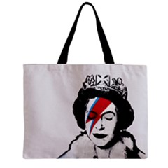 Banksy Graffiti Uk England God Save The Queen Elisabeth With David Bowie Rockband Face Makeup Ziggy Stardust Zipper Medium Tote Bag by snek