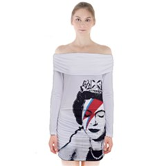 Banksy Graffiti Uk England God Save The Queen Elisabeth With David Bowie Rockband Face Makeup Ziggy Stardust Long Sleeve Off Shoulder Dress by snek