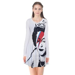Banksy Graffiti Uk England God Save The Queen Elisabeth With David Bowie Rockband Face Makeup Ziggy Stardust Long Sleeve V-neck Flare Dress by snek