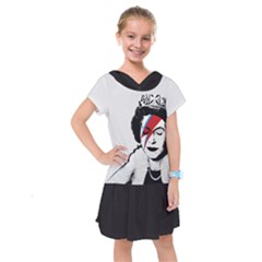 Banksy Graffiti Uk England God Save The Queen Elisabeth With David Bowie Rockband Face Makeup Ziggy Stardust Kids  Drop Waist Dress by snek