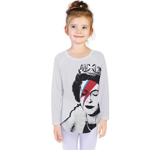 Banksy Graffiti Uk England God Save The Queen Elisabeth With David Bowie Rockband Face Makeup Ziggy Stardust Kids  Long Sleeve Tee by snek