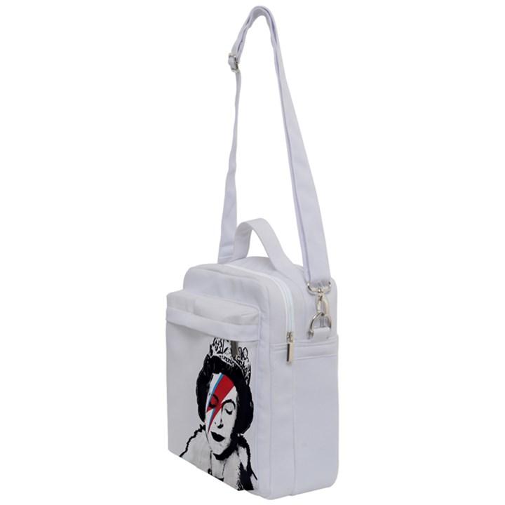 Banksy graffiti UK England God Save the Queen Elisabeth with David Bowie rockband face makeup Ziggy Stardust Crossbody Day Bag