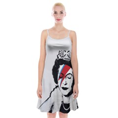 Banksy Graffiti Uk England God Save The Queen Elisabeth With David Bowie Rockband Face Makeup Ziggy Stardust Spaghetti Strap Velvet Dress by snek