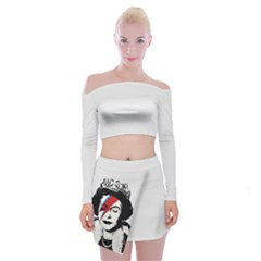Banksy Graffiti Uk England God Save The Queen Elisabeth With David Bowie Rockband Face Makeup Ziggy Stardust Off Shoulder Top With Mini Skirt Set by snek