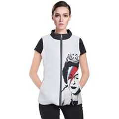 Banksy Graffiti Uk England God Save The Queen Elisabeth With David Bowie Rockband Face Makeup Ziggy Stardust Women s Puffer Vest by snek