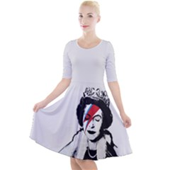 Banksy Graffiti Uk England God Save The Queen Elisabeth With David Bowie Rockband Face Makeup Ziggy Stardust Quarter Sleeve A-line Dress by snek