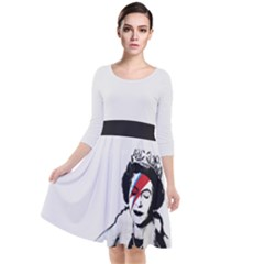 Banksy Graffiti Uk England God Save The Queen Elisabeth With David Bowie Rockband Face Makeup Ziggy Stardust Quarter Sleeve Waist Band Dress