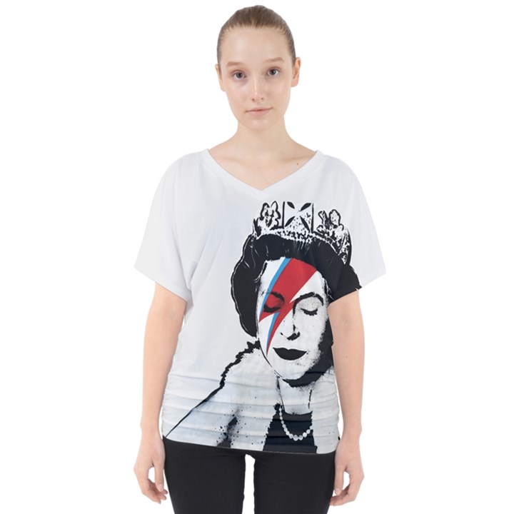 Banksy graffiti UK England God Save the Queen Elisabeth with David Bowie rockband face makeup Ziggy Stardust V-Neck Dolman Drape Top