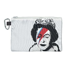 Banksy Graffiti Uk England God Save The Queen Elisabeth With David Bowie Rockband Face Makeup Ziggy Stardust Canvas Cosmetic Bag (large) by snek