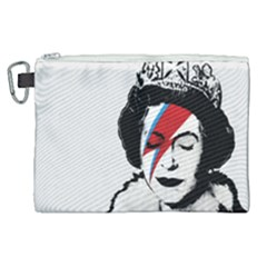 Banksy Graffiti Uk England God Save The Queen Elisabeth With David Bowie Rockband Face Makeup Ziggy Stardust Canvas Cosmetic Bag (xl) by snek