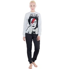 Banksy Graffiti Uk England God Save The Queen Elisabeth With David Bowie Rockband Face Makeup Ziggy Stardust Women s Lounge Set